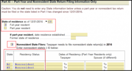 ProSeries: Part-year and nonresident state return filing information only
