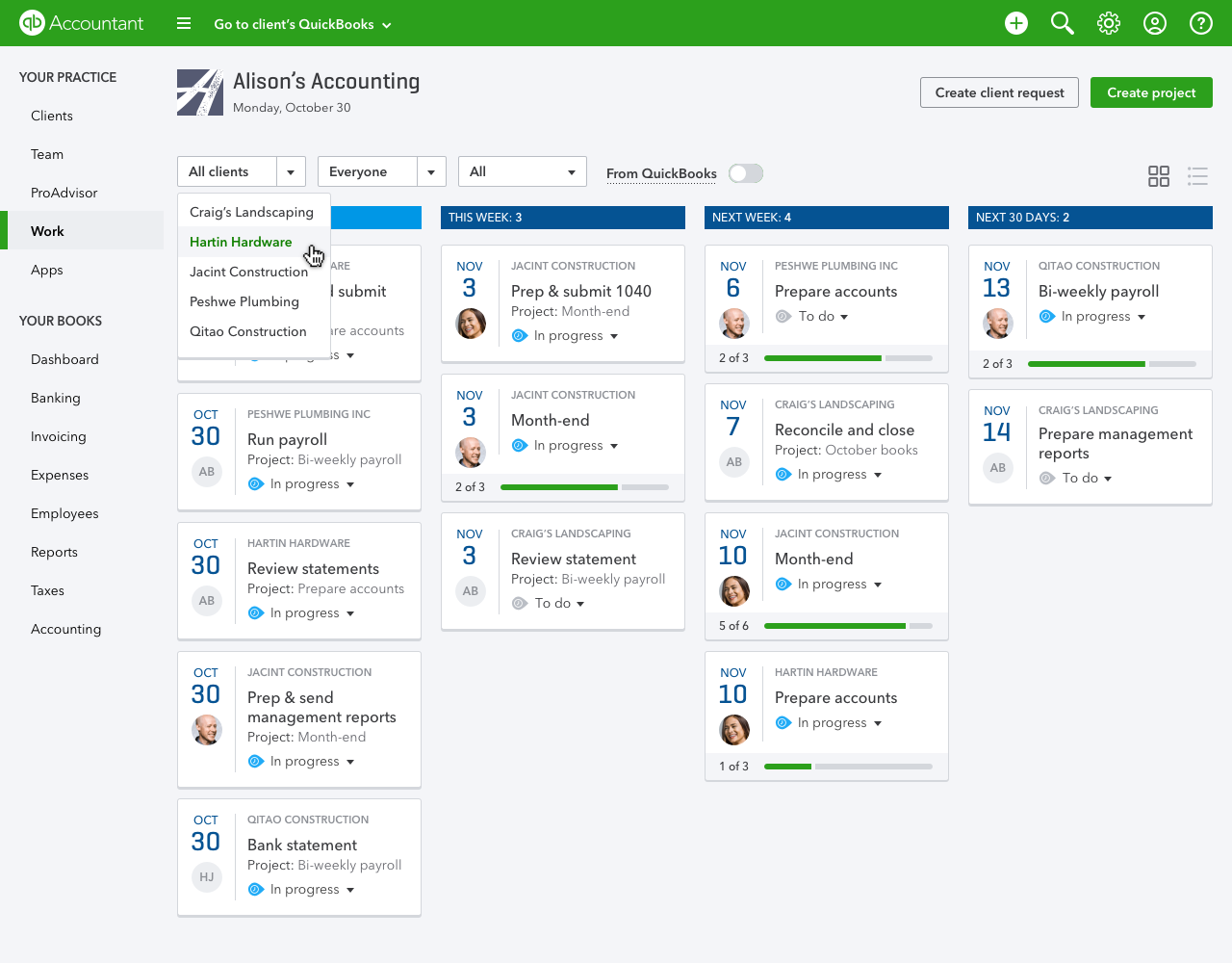 QuickBooks Online Accountant Work by Client