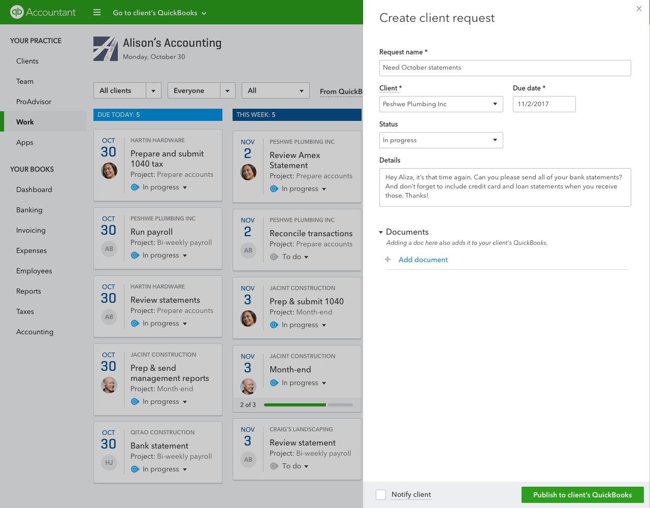 QuickBooks Online Accountant Create Client Request