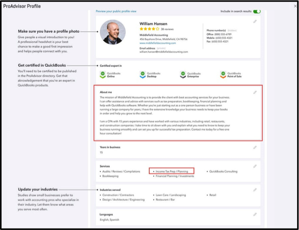 Find-a-ProAdvisor Profile