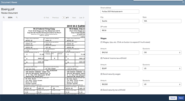 Side-by-side view in ProConnect Tax Online