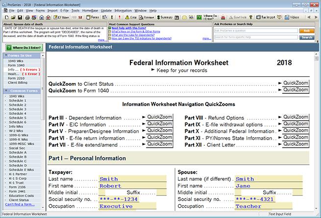 ProSeries Federal Information Worksheet